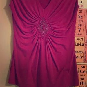 WHBM Pink Jeweled Sleeveless Top